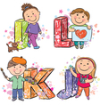 Funny alphabet with kids IJKL vector image