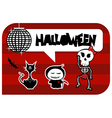 Funny halloween dancing monsters greeting card vector image