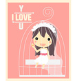 girl in cage valentines card vector image vector image