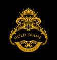 gold premium frame with crown vector image vector image