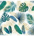 green and golden tropical leaves seamless pattern vector image vector image