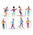 group cute cartoon skiers people ski trendy vector image vector image