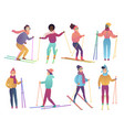 group of cute cartoon skiers people ski trendy vector image vector image