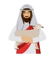 half body jesus carrying a sheep vector image