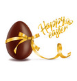 happy easter card chocolate egg with yellow vector image vector image