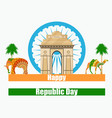 happy republic day of india of india gate vector image
