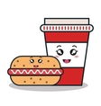 hot dog and cup plastic facial expression isolated vector image