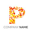 letter p logo with orange yellow red particles vector image vector image