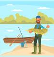 man holding big fish in flat vector image