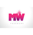 mw m w letter logo with pink purple color and vector image vector image