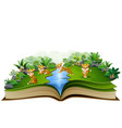 open book with group of tiger cartoon vector image