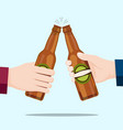 people celebrating with beer bottles and blue vector image