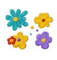 plasticine handmade flowers vector image vector image