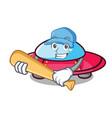 playing baseball ufo character cartoon style vector image