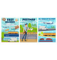post office mail delivery transport postman vector image vector image