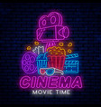 ready neon signboard for cinema vector image vector image
