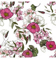 realistic isolated seamless floral pattern hand vector image vector image