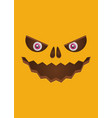scary face of halloween pumpkin vector image