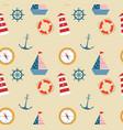 seamless pattern marine theme set vector image vector image