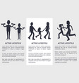 set of active lifestyle cards vector image vector image