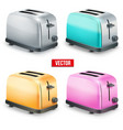 Set of Bright retro toasters isolated on white vector image vector image