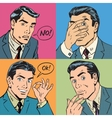 Set of four retro emotional businessman vector image vector image