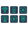 set of icons about online payments with bitcoin vector image vector image