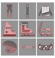 set of icons in flat design ski equipment vector image
