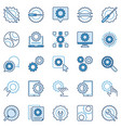 settings or configuration blue icons set vector image