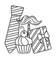 tie moustache gift and muffin black and white vector image vector image