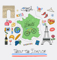 tour to france icon set vector image vector image