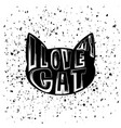 typography design of print with cat silhouette vector image