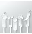 vegetables fork paper cut background vector image