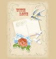 Vintage scrapbook elements retro card love design vector image vector image