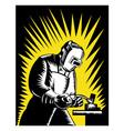 Welder Metal Worker Welding Retro vector image vector image