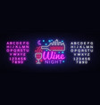 wine shop neon sign wine bar concept vector image vector image