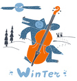 Wolf and double bass in winter night vector image vector image
