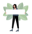 woman hold blank poster flat vector image