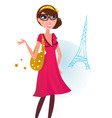 woman shopping in Paris vector image vector image