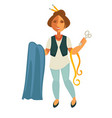 woman tailor with equipment vector image vector image