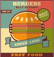 Fast food menu Hot Hamburger vector image