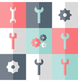 Flat gear and wrench icon set vector image