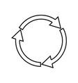 three circle arrows it is black icon vector image