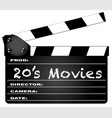 20s movies clapperboard vector image vector image