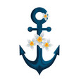 anchor ship with beautiful flowers vector image vector image