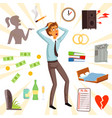 attributes and symbols of stress and fear vector image