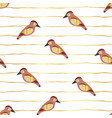birds with gold foil wings on lines pattern vector image