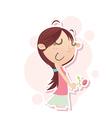 blushing girl vector image vector image