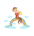 Boy Playing Saxophone With Rainbow And Clouds vector image vector image