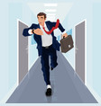 businessman runs forward along corridor vector image